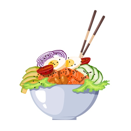 White round poke bowl with salmon, avocado,cucumber, egg, onion rings and tomato on a white background. Trend Hawaiian food. Vector illustration of healthy food. Illustration