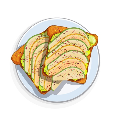 Avocado sandwich Slices of fresh bread with avocado slices, seeds and spices. Vector illustration of healthy vegetarian food on white background Фото со стока - 127075535