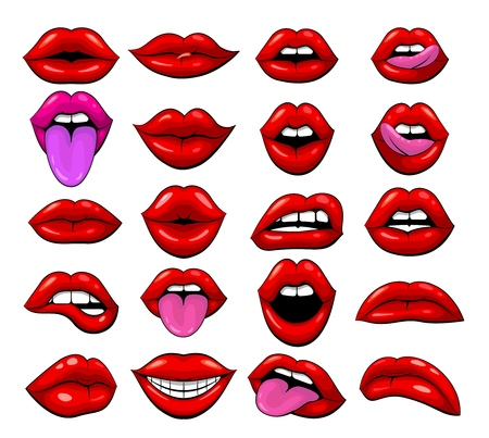 Large set of red female lips on a white background. A lot of smiles and emotion lips. Graphic drawing of the mouth. Vector illustration Illustration