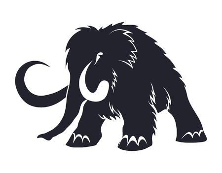 Black silhouettes of mammoths on a white background. Prehistoric animals of the ice age in various poses. Elements of nature and evolutionary development. Vector illustration