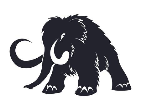 Silhouettes noires de mammouths sur fond blanc. Animaux préhistoriques de l'ère glaciaire dans diverses poses. Éléments de la nature et du développement évolutif. Illustration vectorielle