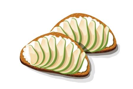 Sandwich à l'avocat Tranches de pain frais avec des tranches d'avocat, des graines et des épices. Illustration vectorielle de nourriture végétarienne saine sur fond blanc