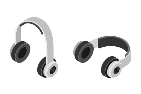 Stereo headphones in isometric trend style on a white background. Vector illustration Фото со стока - 127075538