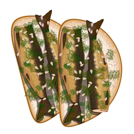 Sandwich with sprats and dill on a white background. Fast food. Vector illustration Векторная Иллюстрация