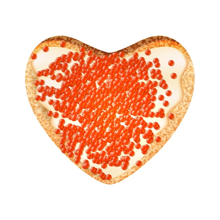 Sandwich with caviar in the shape of a heart on a white background. Vector illustration of a toast with salmon caviar. Фото со стока - 126583014