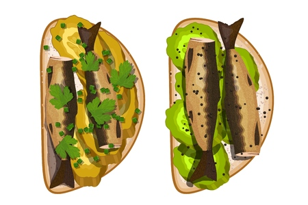 Sandwich with sprats, pickles, and parsley on a white background. Vector illustration Фото со стока - 126583015