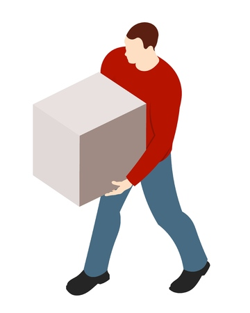 Strong sports guy with a cardboard box in hands on a white background. Vector illustration of delivery service, logistics, mail. A man in a blue jacket and jeans carrying cargo Фото со стока - 126583022