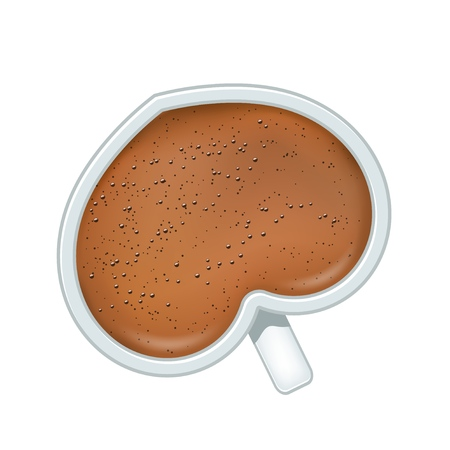 White ceramic heart shaped cup with black coffee with foam and bubbles on white background. Vector illustration of breakfast drink of unusual shape.