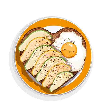 Sandwich with egg and avocado slices in the form of a heart on a plate with a yellow rim. Vector illustration of delicious appetizing snacks on white background Фото со стока - 126583026