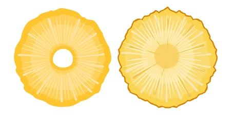 Vector pineapple slit piece cut on a white background. Ripe tropical fruit for diet, healthy nutrition, exotic food illustration of ingredient fruit cocktail Иллюстрация