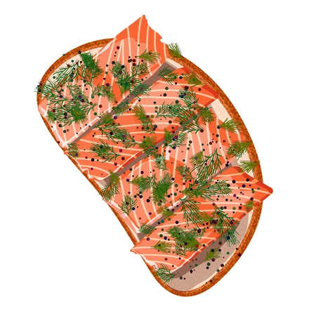 Sandwich with slices of salmon and dill on a white background. Vector illustration of delicious appetizing snacks with sea food