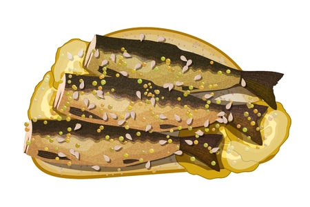 Appetizing sandwich with sprats, pickles, sesame on a white background. Vector illustration of a snack with fish and sesame seeds. Çizim