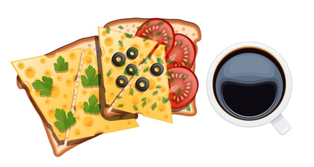 Set of food for breakfast. Two sandwiches with a cup of coffee on a white background. Vector illustration of toasts with cheese, tomatoes, eggs, dill, olives, white cup with black coffee Иллюстрация