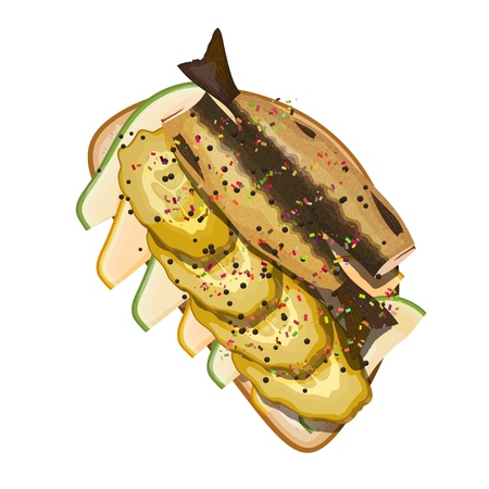 Appetizing sandwich with sprats, pickles, sesame, avocado slice on a white background. Vector illustration of a snack with fish and sesame seeds.