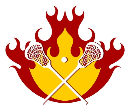 Lacrosse putter and ball on fire background. Flames with sticks for lacrosse. Vector illustration. Illustration