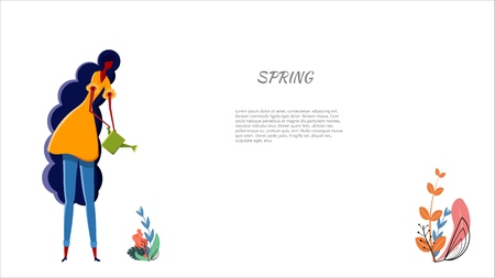 Girl is watering a plant Young teen girl watering a small spring sprout from a watering can against a white background Young woman taking care of the germ Vector stock illustration of spring gardening Illustration