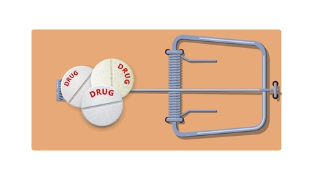 Flat wooden mousetrap with drugs pills. Concept of drug addiction and the danger of drug use. Vector illustration Çizim