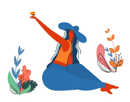 Girl in a hat with a butterfly. Young girl in a blue hat with a spring butterfly on her hand. Vector illustration, concept of spring and youth. Young woman on nature.