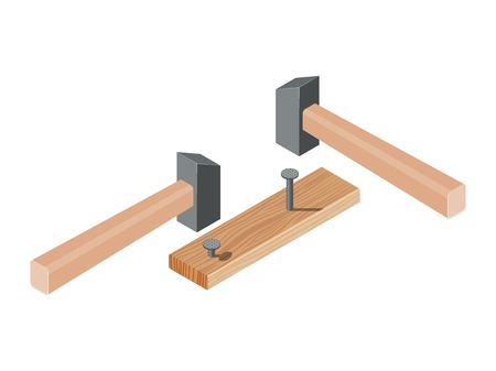 Realistic isometric rasped wooden timber plank for building construction or floring with hammer and nails. Wooden board on a white background. Vector illustration Illustration