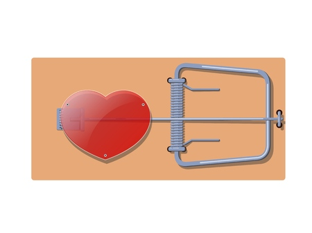 Flat wooden mousetrap with a red glass heart. The concept of dependence and love and adventure. Vector illustration