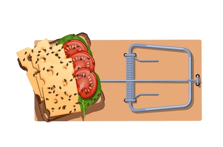 A flat wooden mousetrap with a cheese sandwich and salad. The concept of dependence on food, unhealthy diet, obesity and fast food. Vector illustration Çizim