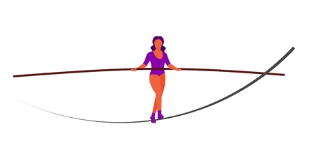 Vector ropewalker walker on a long rope on a white background. Balancing funambulist in leotard, circus artist. The figure of a young tightrope-dancer. Circus illustration vector wire-dancer Ilustração