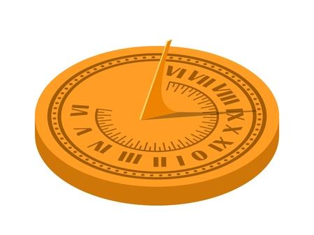 Image vectorielle isométrique couleur d'un cadran solaire sur fond blanc. Cadran solaire dans le style Flete Cartoon. Illustration vectorielle de stock isométrie style