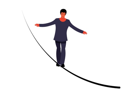 Vector ropewalker walker on a long rope on a white background. Balancing funambulist in leotard, circus artist. The figure of a young tightrope-dancer. Circus illustration vector wire-dancer Çizim