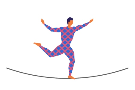 Vector ropewalker walker on a long rope on a white background. Balancing funambulist in leotard, circus artist. The figure of a young tightrope-dancer. Circus illustration vector wire-dancer Illustration