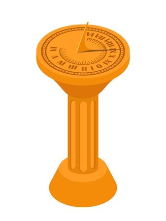 Image vectorielle isométrique couleur d'un cadran solaire sur fond blanc. Cadran solaire dans le style Flete Cartoon. Illustration vectorielle de stock isométrie style Vecteurs