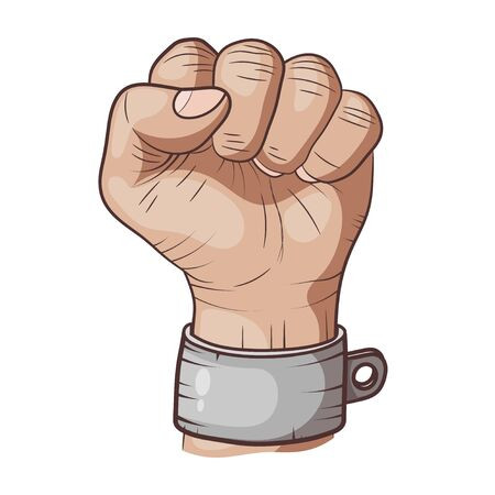 Hand drawing Man hand sign Hand with clenched a fist, hand in handcuffs isolated on a white background vector Фото со стока - 127986218