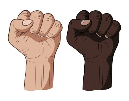 Two clenched fists raised up. Two mens hands, fists on a white background. Dark and light skin. Different races. The symbol of freedom. Vector illustration Иллюстрация