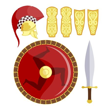 Greek shield, sword, armor and helmet on a white background. Antique weapons of the Greek hoplite. Vector illustration Фото со стока - 127986224
