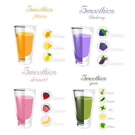 Set of glass cups with smoothies with ingredients on a white background. Diet summer food. Healthy diet. Fruit and vegetable smoothies. Vector illustration