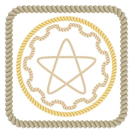 Vector illustration of a set of  ropes on a white background. Elements of production and design