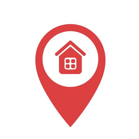 Red point with house icon on a white background. Vector illustration Иллюстрация