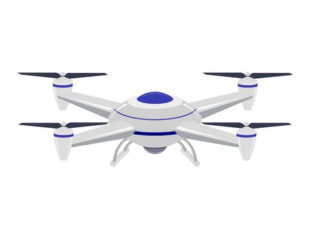 Guided air vehicle on a white background. Vector drawing of a drone. Vector illustration of the aircraft Archivio Fotografico - 129687751