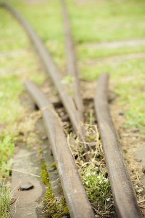 A close up of parting railway lines photo