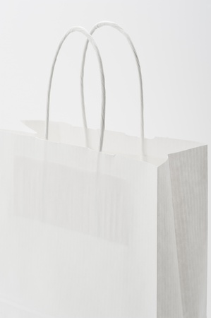 Studio shot of a white paper bag