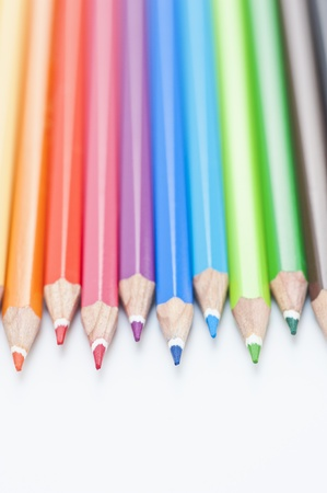 Studio shot showing a variety of colored pencils Stock Photo - 12636392
