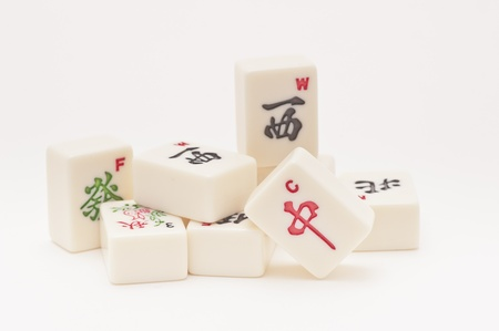 Studio shot of Mahjong pieces on white background Stock Photo