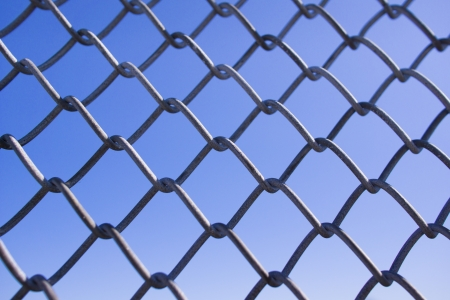 Seamless image of metal barrier and blue sky Stock Photo - 15193711