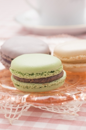 French macaroon cookies at traditional dining
