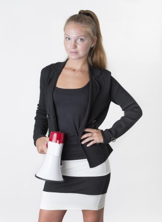 loudhailer: Beautiful businesswoman communicate with a megaphone