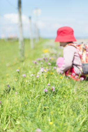 Young child with backpack on trek, discover grass and flowers Stock Photo