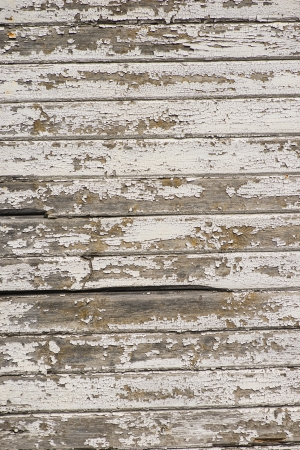 Seamless closeup of white wall on retro building. Striped wooden panels which make a nice surface with rough texture. Stock Photo