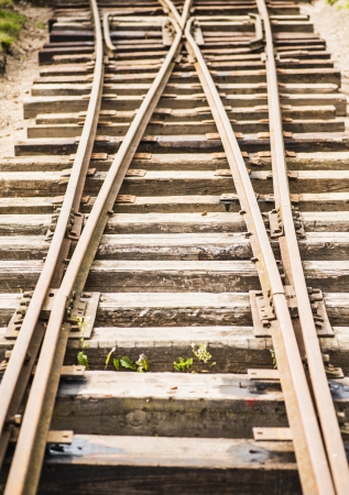 parting: Two parting railway lines Stock Photo