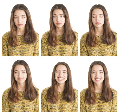 Diverses émotions dans la collection de portraits d'une adolescente belle