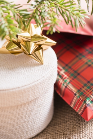 Close up of christmas tree and holiday presents