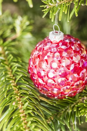 Christmas tree decorated with bright red bauble